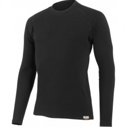 T-SHIRT COL ROND, MANCHES LONGUES, ROSTA MERINO NOIR